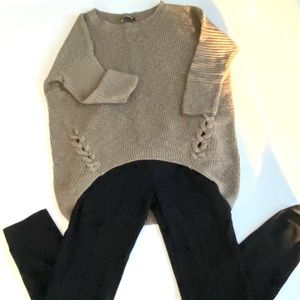 Express High Low Sweater Nubby Olive Green M